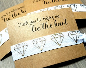 Thank You For Helping Me Tie The Knot Hair Tie Favors | Wedding Thank You Favors | Bridesmaid Favors | Gifts and Mementos | Bridesmaid Gift