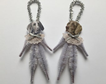 WEIMARANER ornaments dog ORNAMENTS vintage style chenille ornaments set of 2
