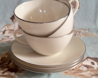 "Set of 3 teacups with saucers by Lenox ""Olympia Platinum"""