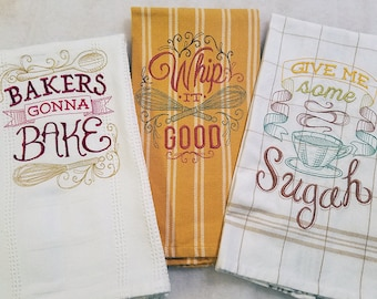 Set of 3 Kitchen Towels 100% Cotton, Machine Embroidery, Hostess Gift, Wedding Gift, Teacher Gift Cook Gift
