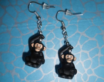 Hand Made Monkey Dangle Earrings, made using LEGO pieces, NEW Quirky Ideal Gift