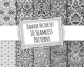 Damask Vector Set - 10 seamless patterns for instant download, scrapbooking supply, printable, commercial use