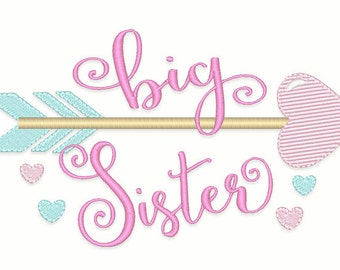 Big Sister Arrow Embroidery Design- Instant Download