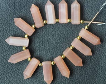 14 piece faceted MOONSTONE 3-D PENCIL beads 7 x 19 mm approx