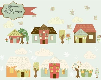 50% OFF SALE! Instant Download -Little Houses, whimsical village: Digital Clipart and Paper Set