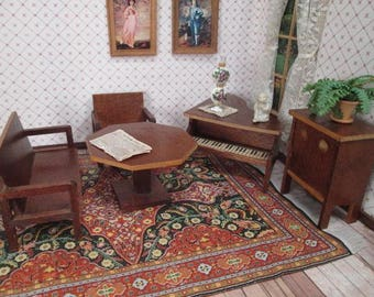 "German Dollhouse Furniture - 5 Piece Parlor or Music Room - 3/4"" Scale"