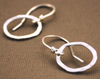Small Hoop Earrings Disheveled sterling silver dangle