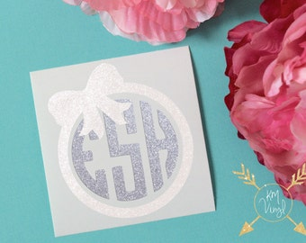 Circle Monogram with Bow Glossy and Glitter Vinyl Decal, Custom Initials, Glossy and Glitter Monogram Sticker