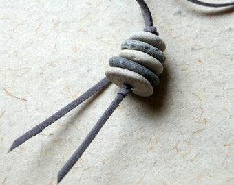 Beach Pebble Cairn Necklace with gray faux vegan leather cord