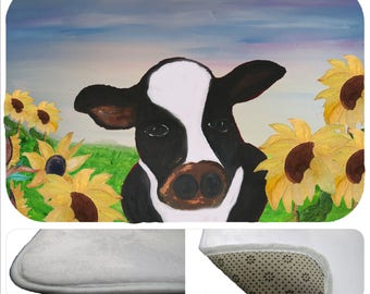Cow and sunflowers art kitchen or bathmat from my art