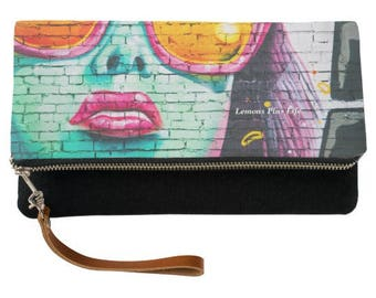 Pink Sunglasses Fold Over Clutch