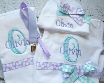 Personalized Baby Shower Gift Set for Girls, Newborn Girls Take  Home Outfit, Baby name gown, Hospital hat, Burp Cloth and Pacifier Clip Set