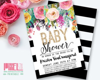Floral Baby Shower Invitation, Black and White Striped Baby Shower Invite, Watercolor Flowers, Wild Flowers, It's a Girl, Girls Baby Shower