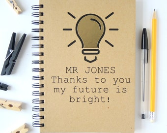 Personalised Teacher thank you notebook gift.