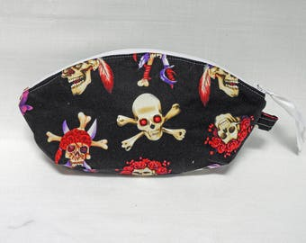 Skull & Roses Curved Pouch OOAK