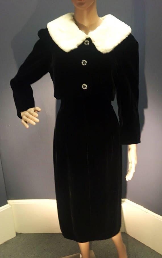 Vintage 1950s 1960s Lilli Ann Black Two Piece Dress and Fur Trimmed Bolero Jacket Small Medium