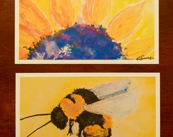 Bee and sunflower watercolor print frame-able notecards (set of 2 notecards)