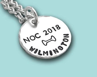 NOC 2018 AKC National Championship Commemorative Charm - Hand Stamped Sterling Silver - Dog Agility - Canine Agility