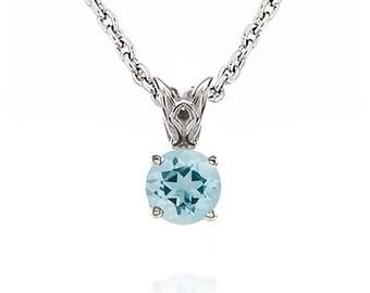 Aquamarine Pendant - 14K White Gold Blue Aquamarine Gemstone Pendant - 6mm Solitaire - Gift for Her - March Birthstone - Chain Optional