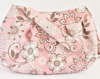 Pleated Fabric Purse, Small - Pink, Brown, White Floral - Buttercup bag, cotton, handbag, spring, floral, flowers, pink, brown, white
