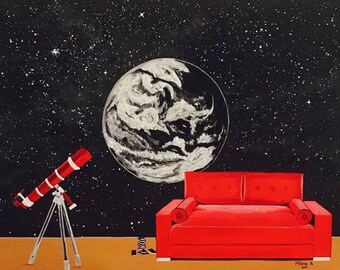 Red telescope .Acrylic on canvas panel . 51cm x 41cm