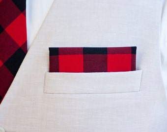 "Pocket Square, Pocket Squares, Handkerchief, Mens Pocket Square, Boys Pocket Square, Wedding Pocket Square - Black And Red 1"" Gingham Check"