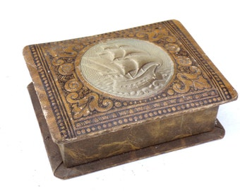 Antique  jewelry cardboard box domed lid with Spanish Caravel decor