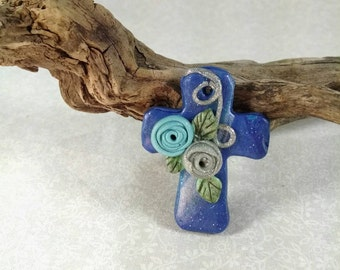 Blue Cross, Floral Cross, Polymer Clay Cross, Supplies, Silver and Blue, Handmade