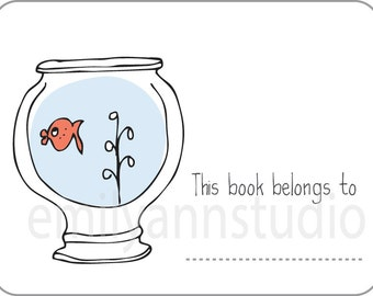 Fish Bowl Bookplates - This Book Belongs To Labels Set of 15