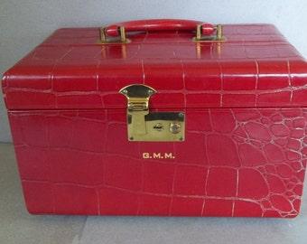 Vintage Leather Train Case - Leather Travel Case - Crocodile Patterned Leather Vanity Case - Luggage and Travel - Leather Vanity Case