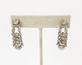 Art Deco Earrings, Bridal Earrings, Vintage Earrings, Crystal Earrings, Rhinestone Earrings, Wedding Earrings, Drop Earrings, Silver Earring