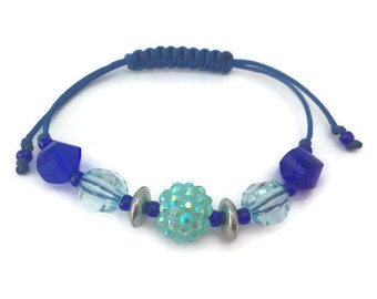 Blue Macrame Beaded Friendship Bracelet