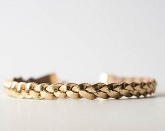 Braided Leather Choker / Necklace / Metallic Gold