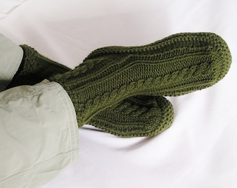 Mens Slippersocks MADE to ORDER Knitted Cabled, Choice of Color, Size