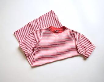 Striped boxy cotton dress   size medium - large   90s red white jersey cotton dress