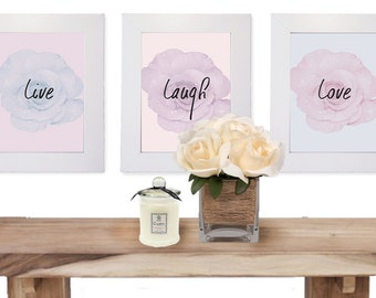 Live Laugh Love - Pastel Roses Wall Decor Set