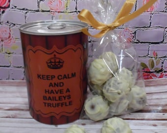 Keep Calm And Have A Baileys Truffle! - Chocolates In A Tin - Novelty Gift - Baileys Chocolate Truffles - Personalised Gift