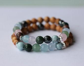 Mixed Stone Beach Inspired Diffuser Bracelet Set