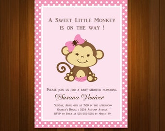 Pink Girl Monkey Baby Shower Printable DIY party invitation,polka dots - ONLY digital file - ao3bs