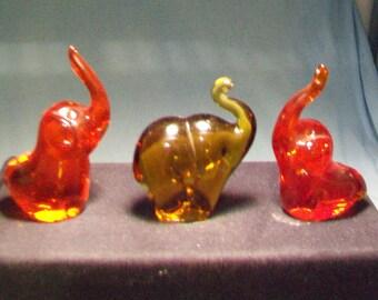 Three Glass Elephant Figurines