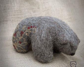 """Felt bear """"Kalina"""". Needle felt. 100% wool."""