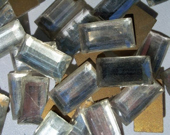35  Vintage Crystal Tiles, Glass Tiles, Jewelry Supplies, Mosaic, Crown