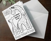 """INSTANT DOWNLOAD Fathers Day Card Coloring page giraffe printable craft classroom daycare activity. """"Dad, I've always looked up to you"""""""