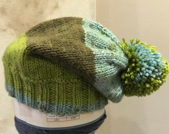 Children's hand knit slouch hat with Pom Pom