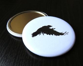 Pocket mirror, crow design, handbag mirror, makeup mirror, purse mirror, stocking filler, wedding favour, party favour, gothic mirror, gift