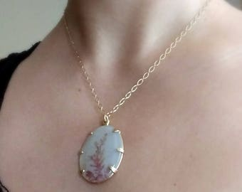 Dendritic Agate Necklace in 14kt Recycled Yellow Gold - ooak, collector stone