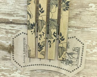 French Country Trendy Clothespins Black and White Glorsl Decorative Clips French Chic Memo Clips Organization Home Office Set of 4