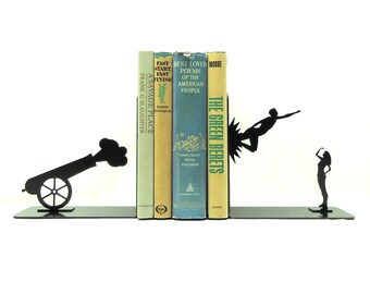 Shot Out of a Cannon Bookends