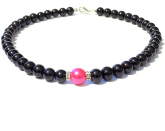 Black and pink pearl necklace, pink pearl necklace, black pearl necklace, black necklace, pink necklace, beaded necklace,bridesmaid necklace