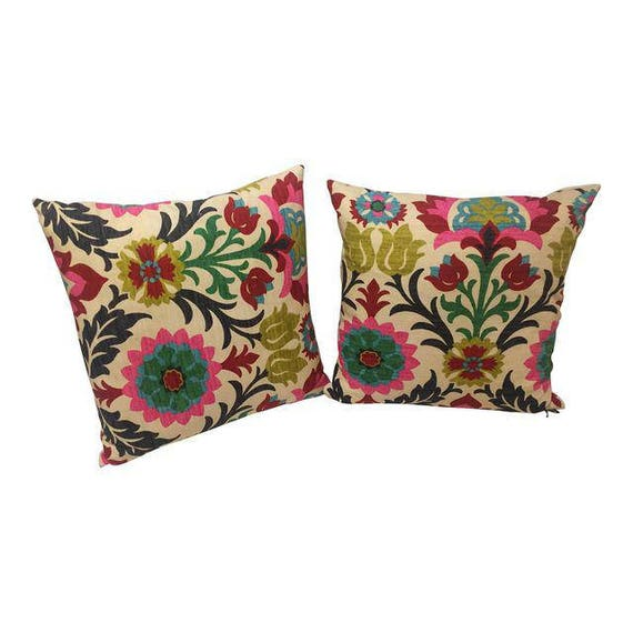 Pair Of Multi Colored floral style Handmade Square pillows